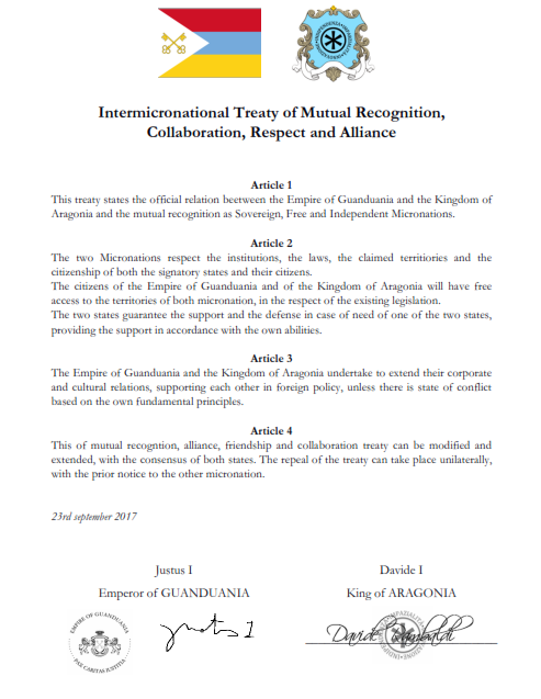 Treaty of Mutual Recognition and Cooperation between Guanduania and Aragonia