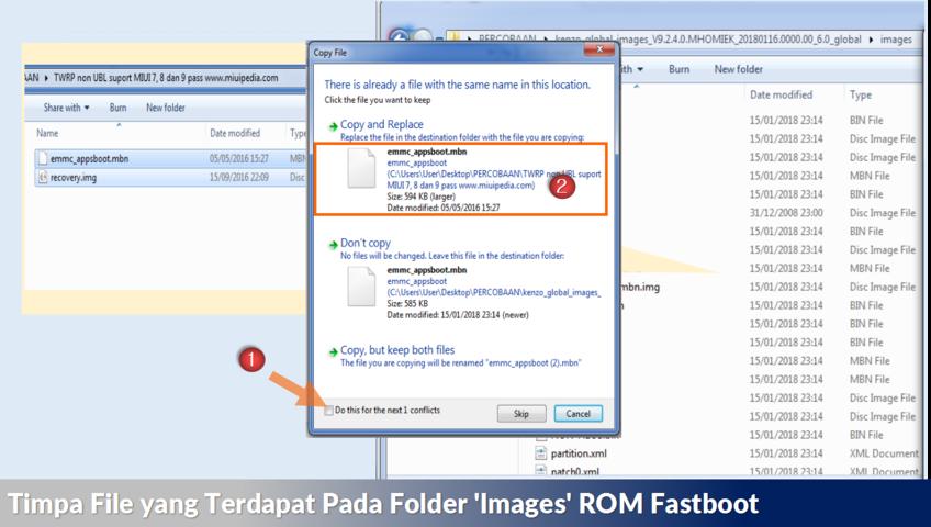 Timpa File yang Terdapat Pada Folder 'Images' ROM Fastboot