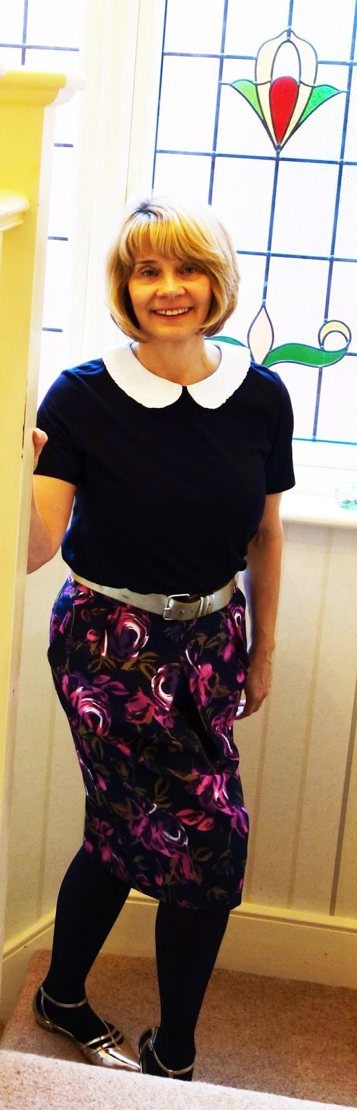 Laura Ashley navy top and silk floral skirt