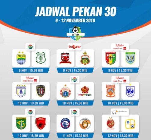 Jadwal Liga 1 2018 Pekan 30