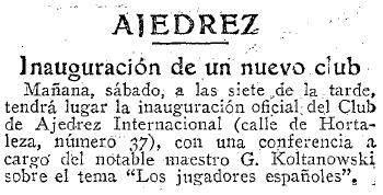 Artículo sobre el Torneo Internacional de Ajedrez del Madrid F.C. 1936 en ABC 29 de mayo de 1936