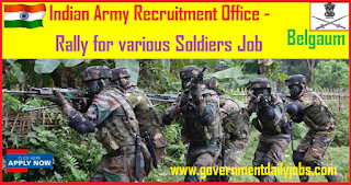 Indian Army Recruitment Rally 2018 Online Soldiers Application Form in Raichur