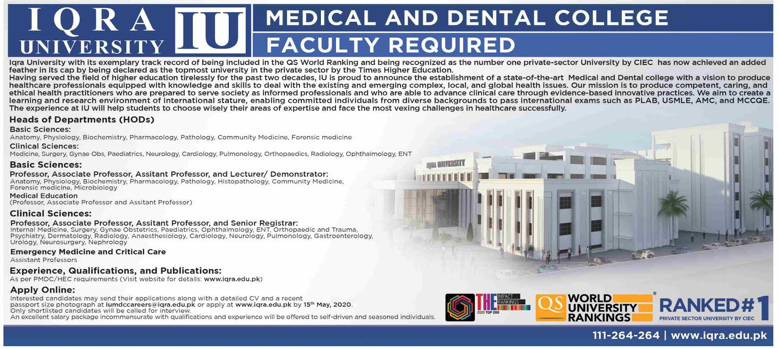 95+Vacancy in Iqra University Jobs May 2020 Apply Now