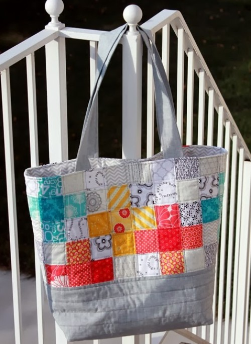 Scrappy Quilted Tote Bag - Tutorial