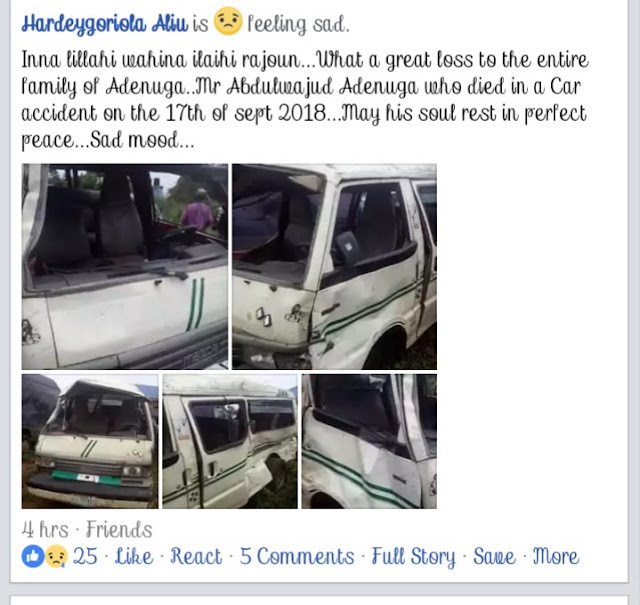 Family Grieves As Mr Adenuga Dies In A Fatal Accident In Ibadan