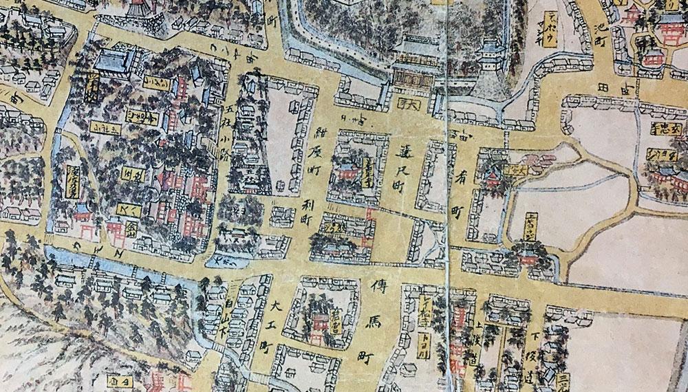 遠江州敷智郡浜松御城下略絵図一部拡大図(2017年8月23日使用許可申請 ※社団法人浜松史跡調査顕彰会専門委員会により企画発行された江戸時代末の浜松城下の略図を浜松市立中央図書館が蔵し原寸複製されたものを許可を得て撮影掲載しています。当該図の無断使用は禁じられています。使用する際には浜松市立中央図書館の許可が必要です。)