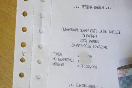 Print Out Tarik Tunai Saldo Doku Wallet