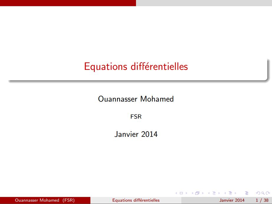Les Equations différentielles