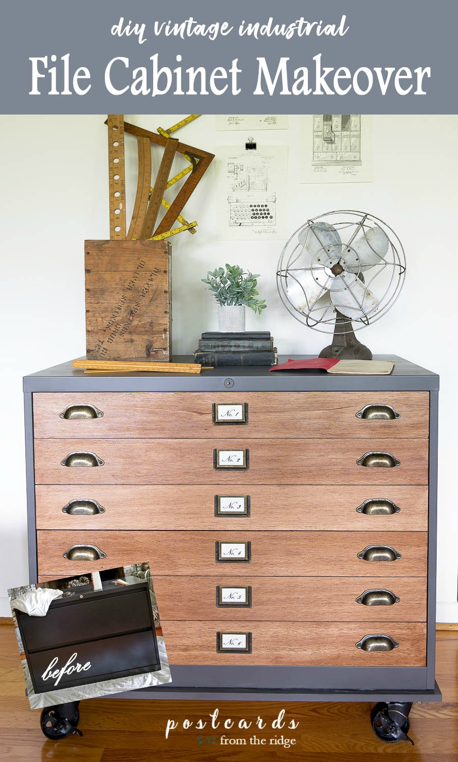 file cabinet makeover with vintage industrial look