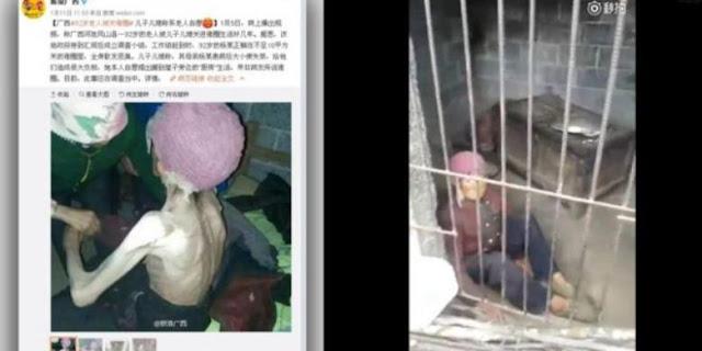 enek 92 tahun kekurangan gizi tinggal di kandang babi beredar di media sosial China