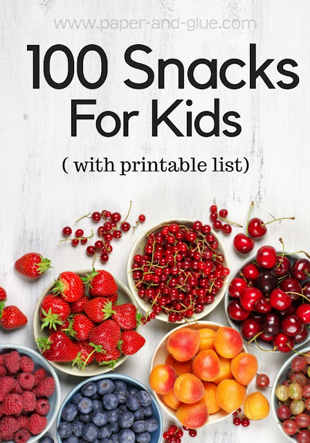 100 Snacks For Kids- Stuck in a snack time rut?  Here's some inspiration to change it up!  Free Printable list of 100 easy snacks for kids.