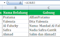 Menggabungkan Data Cell di Excel
