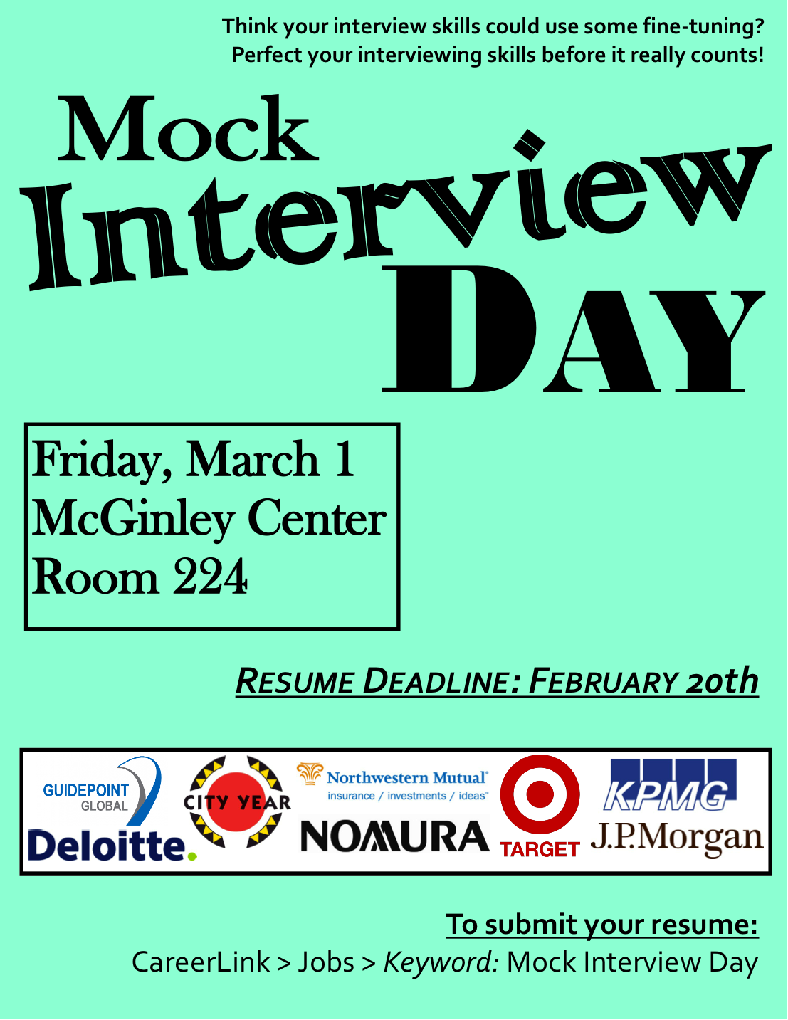 fordham career services blog last chance mock interview day to make sure you reserve your spot for an interview on friday please call laura greenbaum directly at 718 817 4366 space is limited so register asap