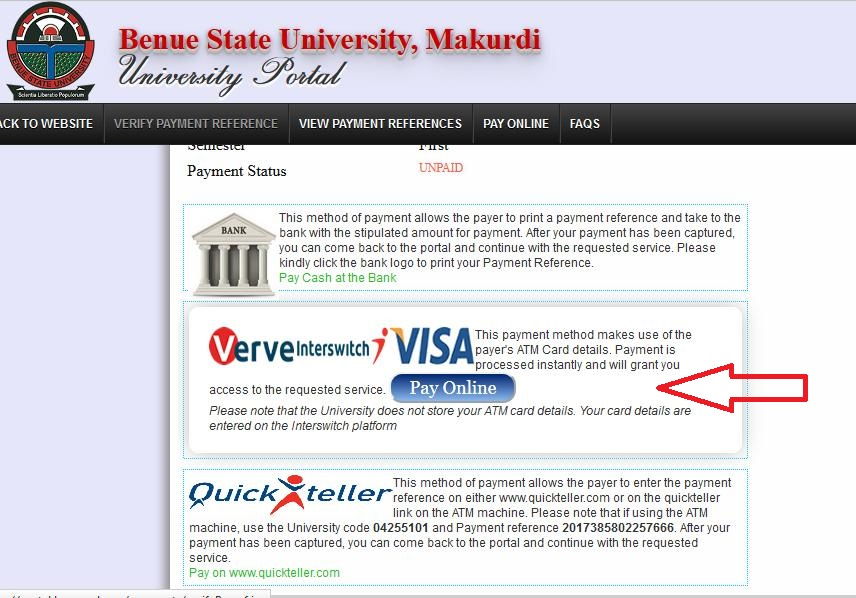 Make line Payments on Benue State University Portal