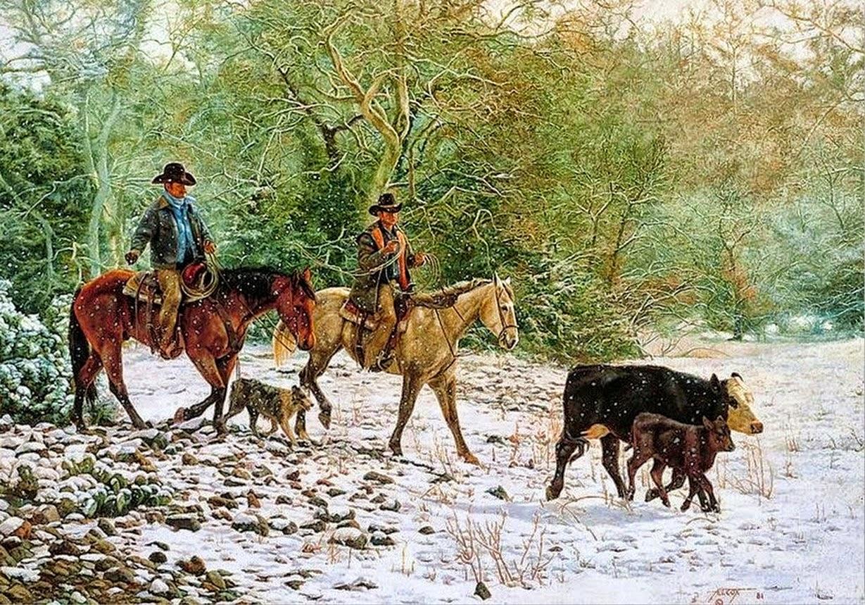 pinturas-de-vaqueros-montados-a-caballo