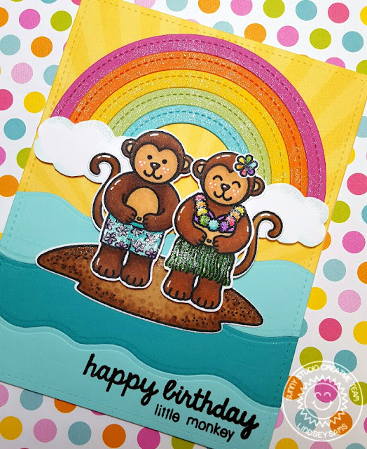Sunny Studio Stamps: Comfy Creatures Monkeys & Rainbows Birthday Card by Lindsey Sams.