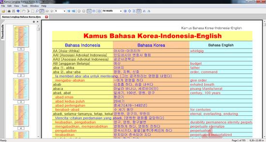 Tampilan Kamus Bahasa Korea - Indonesia Versi DJVU