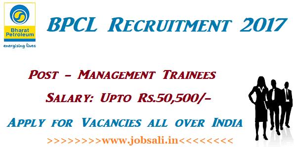 Bharat Petroleum Recruitment 2017, BPCL Management Trainee Vacancy 2017, BPCL Recruitment through GATE