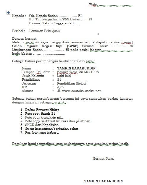 Download Contoh Surat Lamaran Kerja BKN Terbaru dalam Bentuk MS Word