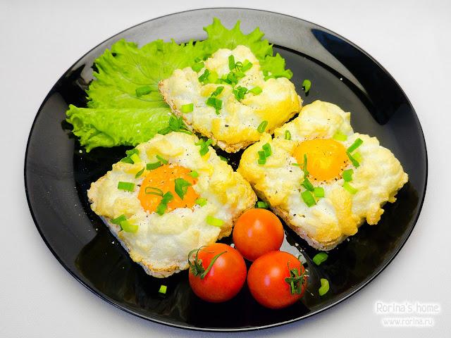 Яичница со взбитым белком: рецепт пошаговый