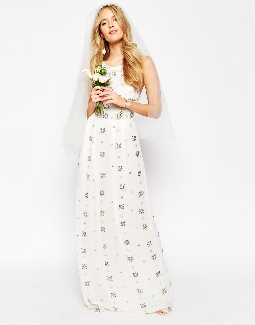 Asos Bridal, All over embellished cami maxi dress, budget wedding dress, stylish wedding dress, casual wedding dress