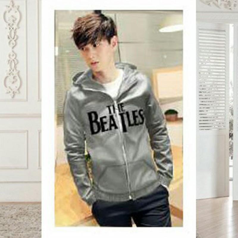 Jual Online Men Jacket The Beatles Grey Jakarta Bahan Babytery Terbaru