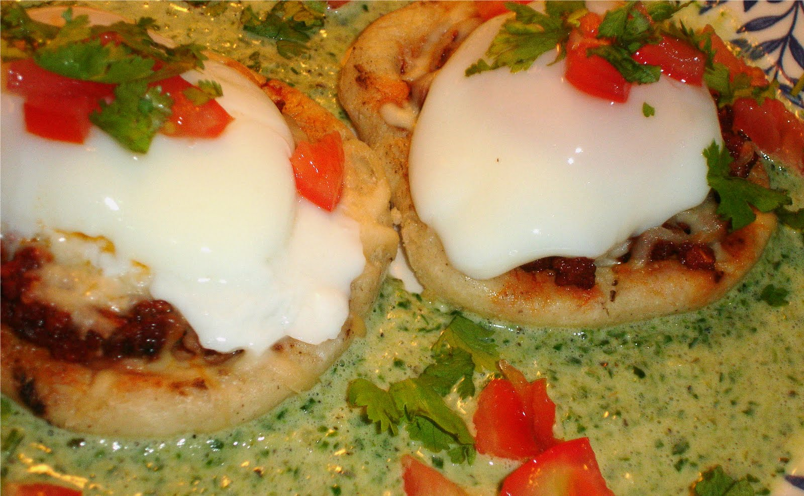 Mexican Brunch Chorizo Sopes With Poached Eggs Spinach