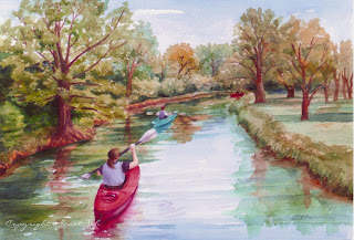 'Kayaking' custom watercolor painting