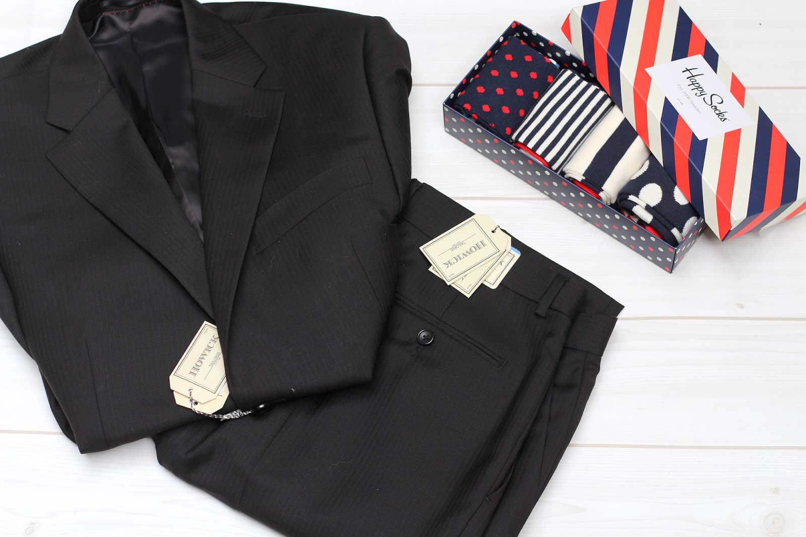 last minute christmas gift guide for him, herringbone suit and happy socks