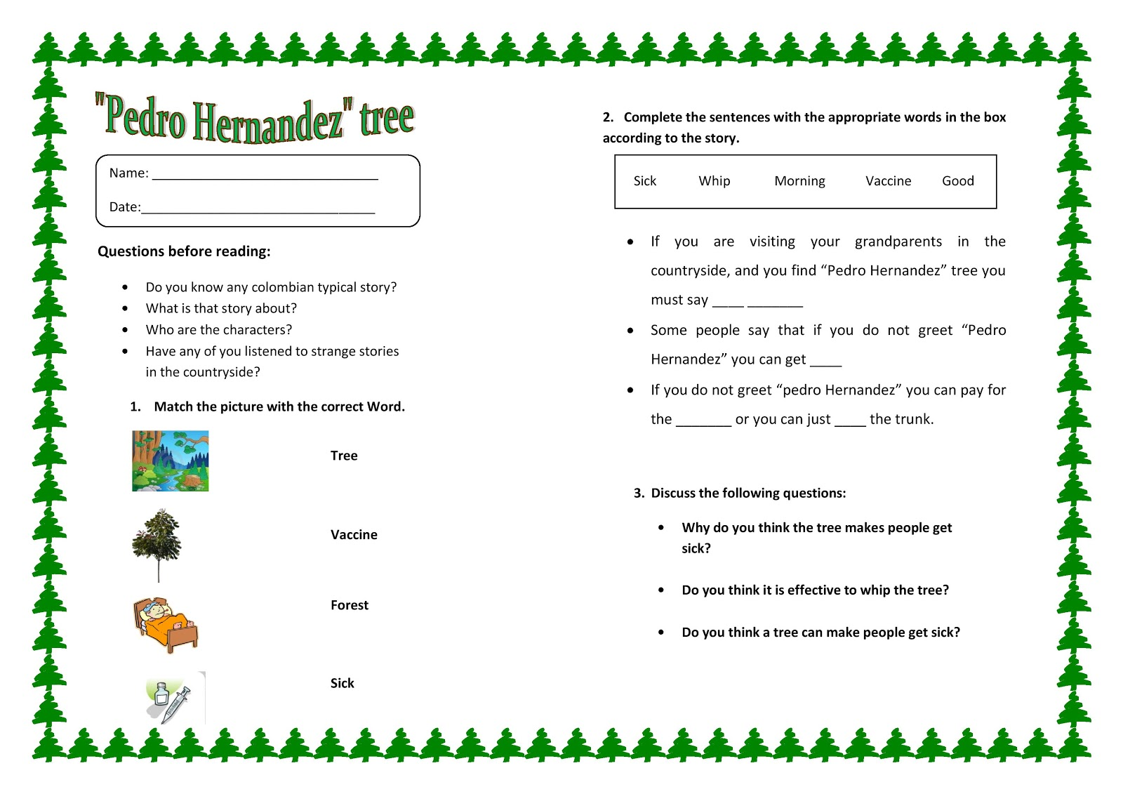 English 4 Kids Pedro Hernandez Story Worksheet