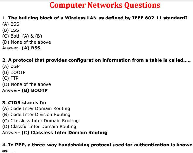 Computer Networks Questions And Answers Pdf