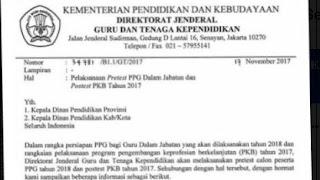 Jadwal Pretest PPG dan Post Test PKB 2017 - 2018
