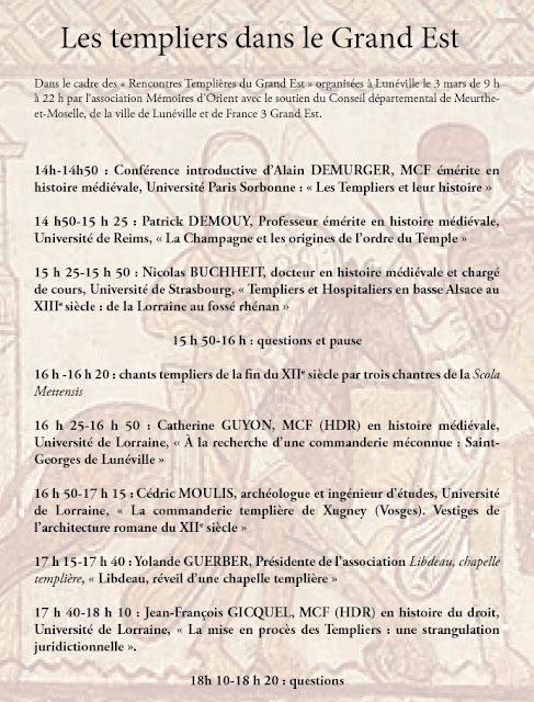 LUNEVILLE (54) - Journée d'étude : Les Templiers dans le Grand Est