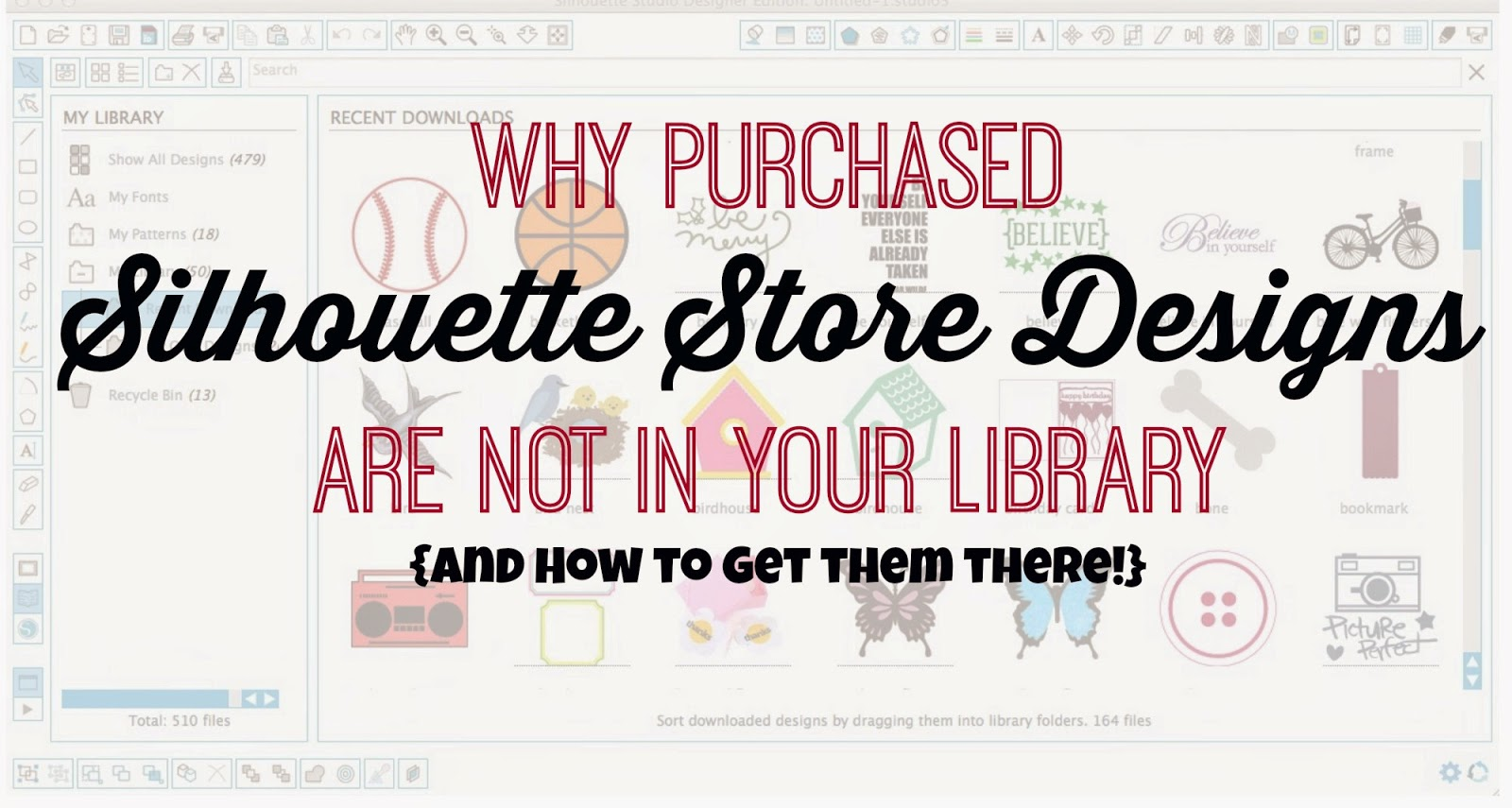 Silhouette Store, Silhouette library, not in library
