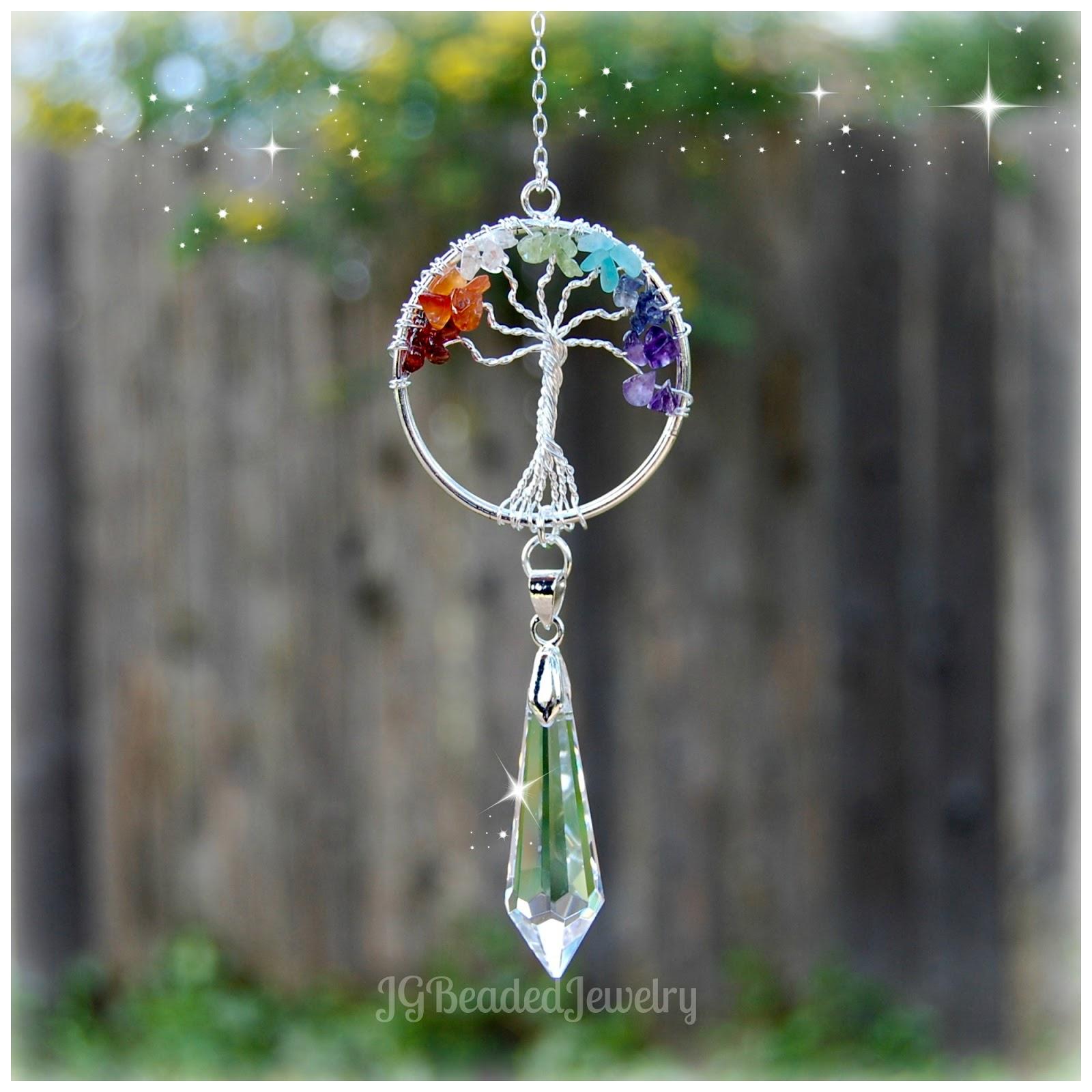 JG Beaded Jewelry Tree Of Life Crystal Suncatcher