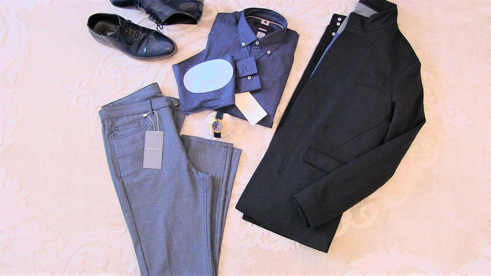 zara lacivert mont, zara gri pantolon, zara mavi gömlek, elle ayakkabı