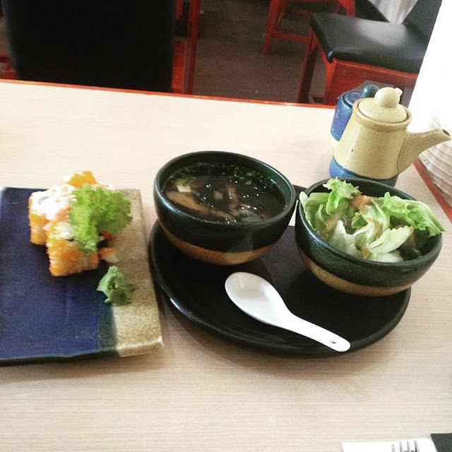 Japanese rolls miso soup and salad greens at Sumo Sam Japanese Restaurant