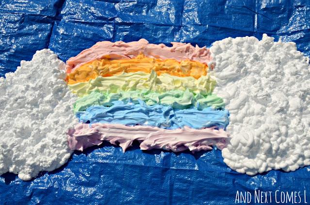 Giant shaving cream rainbow sensory activity for kids