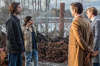 "ared Padalecki as Sam, Shoshannah Stern as Eileen Leahy, Adam Fergus as Mick Davies and Darren Adams as Renny Rawlings in Supernatural 12x17 ""The British Invasion"""