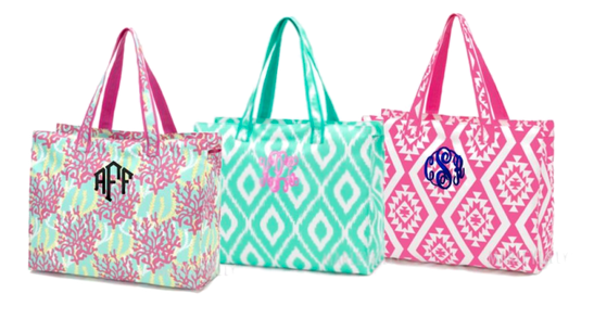 colorful beach bags with monogram