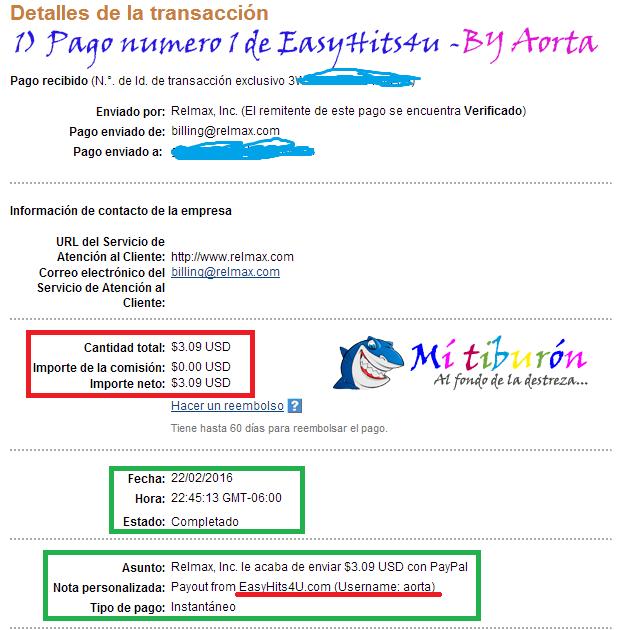 1) Primer Pago de EasyHits4u - .09 por PayPal