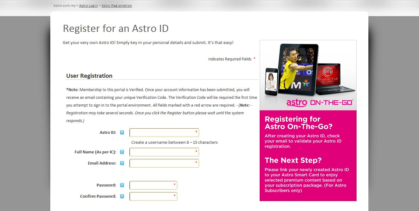 Astro on the go login
