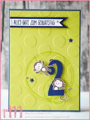 Stampin' Up! rosa Mädchen Kulmbach: Karte mit Äffchen zum 2. Geburtstag mit Swirly Frames, Foxy Friends, Perfekter Geburtstag, Große Zahlen und Große Punkte