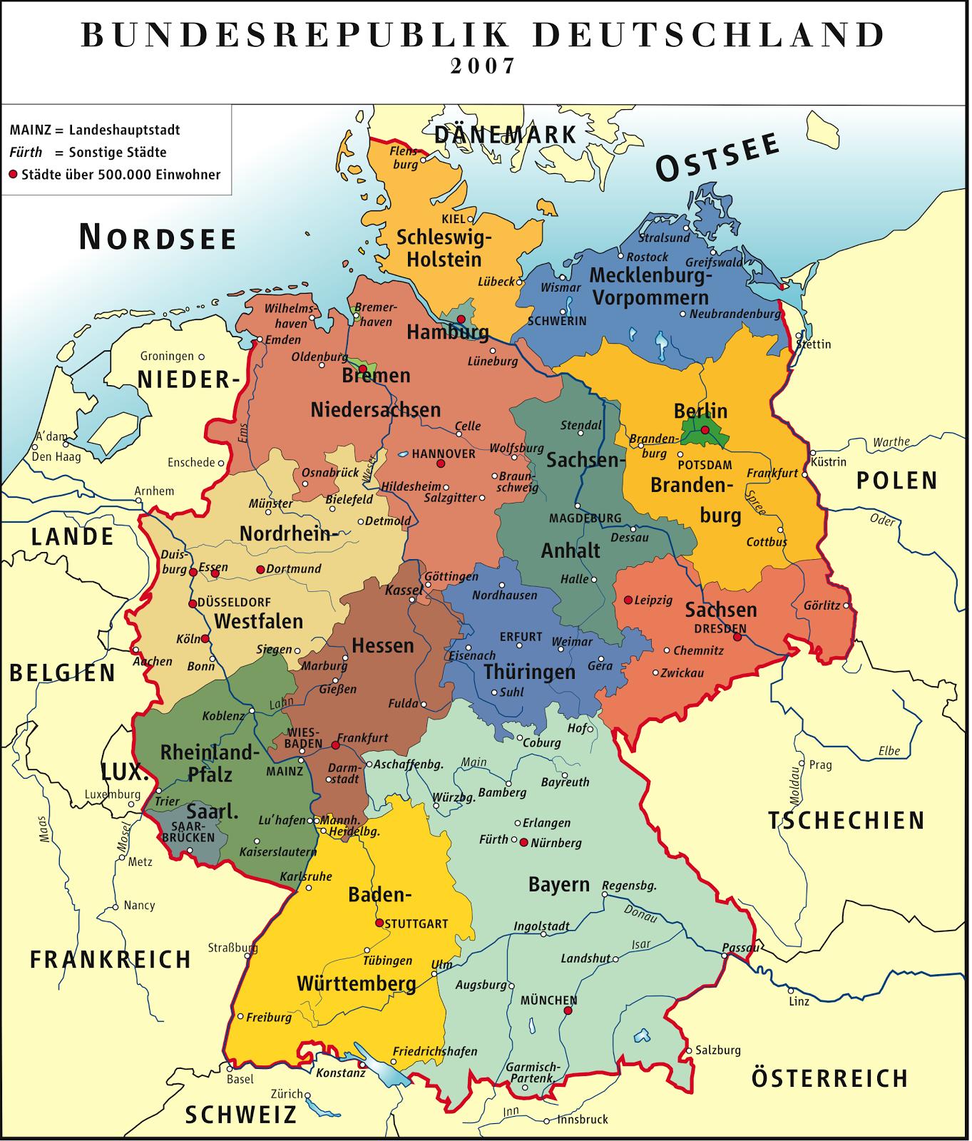 Alemanha | Mapas Geográficos da Alemanha