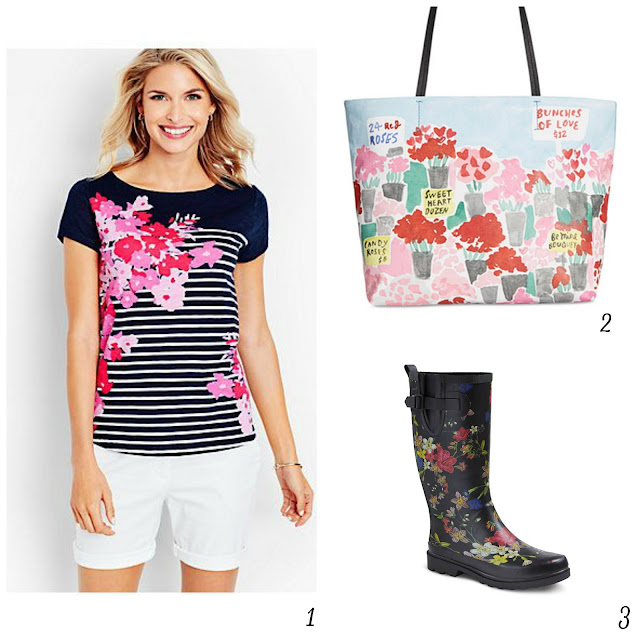 a gathering of florals, floral art, floral towels, floral clothes, floral boots, floral candle, floral prints, flowers, flower patterns, spring flowers, Burpee seeds,