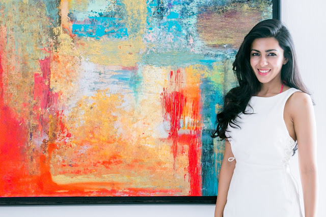Bahaar Dhawan Rohatgi with her abstract work