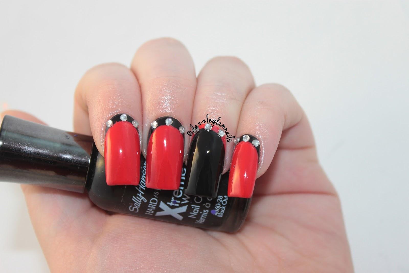 Dazzle Glam Nails   Nail Art Blog: Black & Red Ruffian Nail Art