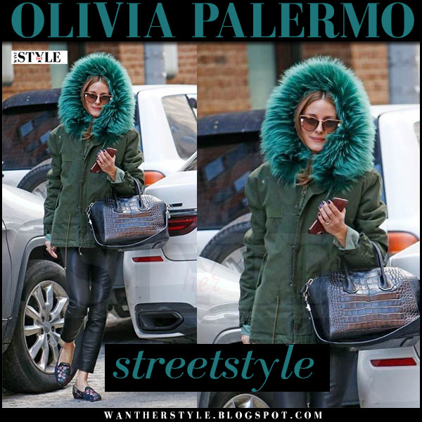Olivia Palermo in green fur hood jacket mr mrs italy, black leather pants with brown sunglasses fendi what she wore streetstyle