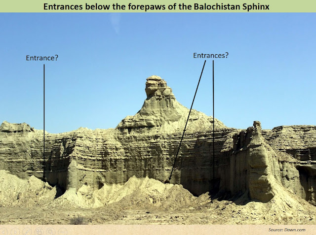 Possible rock-cut entrances on the elevated platform below the forepaws of the Balochistan Sphinx
