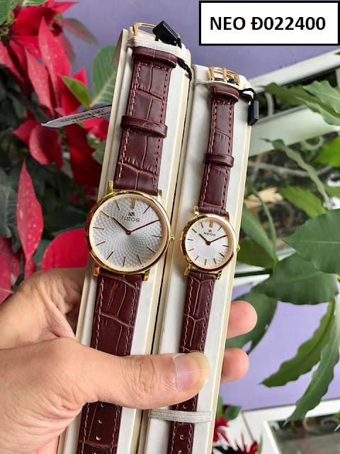 Đồng hồ cặp đôi dây da Neos Đ022400